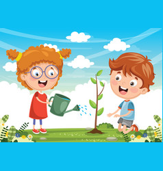 Kids planting vector