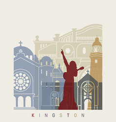 Kingston skyline poster vector