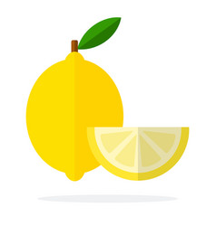 Lemon with leaf and segment lemon flat isolated vector
