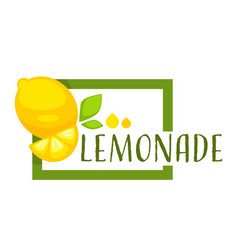 Lemonade square emblem with citrus fruit and vector