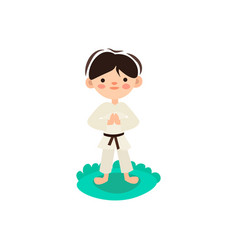 little kid child preparing for karate training vector image