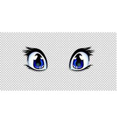 Manga anime blue eyes for creation cartoon kawaii vector