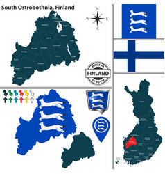map of south ostrobothnia finland vector image