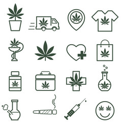 Marijuana cannabis icons set of medical vector