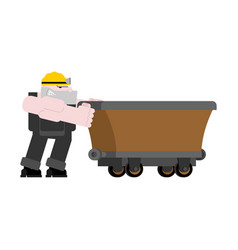 miner and trolley empty isolated mining vector image