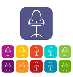 Modern office chair icons set flat vector