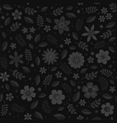 monochrome floral seamless pattern on black vector image