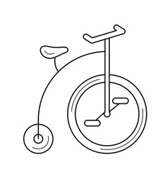 old bicycle line icon vector image