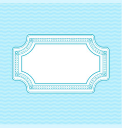 ornamental frame on light blue wave background vector image