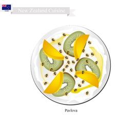 Pavlova meringue cake with kiwifruits and mango vector