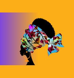 Portrait beautiful african woman in ethinic turban vector