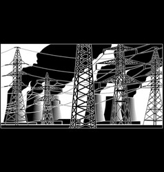 power station and high-voltage lines vector image