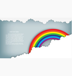 rainbow on blue sky with cloud paper art style vector image