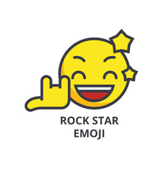 rock star emoji line icon sign vector image
