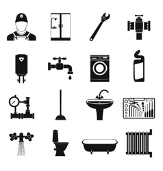 Sanitary engineering simple icons vector