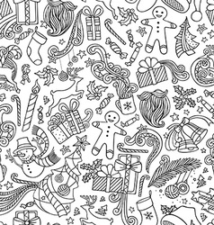 Seamless Doodles Christmas Pattern vector