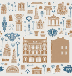 Seamless pattern on theme old architecture vector