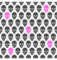 seamless pattern with gray and pink skulls vector image