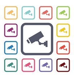 security camera flat icons set vector image