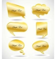 Set golden Speech Bubble vector image