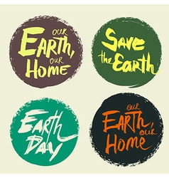Set lettering Earth Day vector image