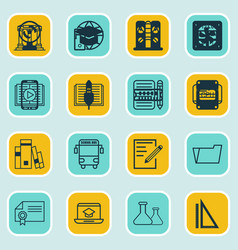 Set of 16 school icons includes diploma library vector