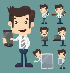Set of businessman show tablet and smart phone cha vector