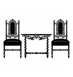 Set of classic ornamented furniture vector
