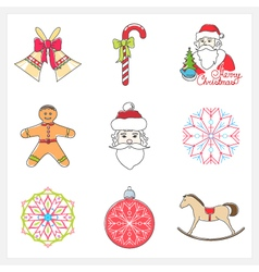 Set of Linear Color Christmas Icons vector image