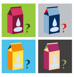 Set of milk carton box flat flat style isolated vector