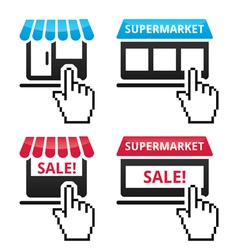 Shop supermarket sale icons with cursor hand ico vector image