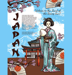 sketch poster of japan travel symbols vector image