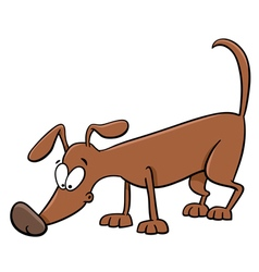 Sniffing dog cartoon vector