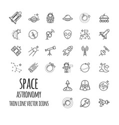 Space astronomy outline icons set vector