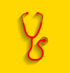 stethoscope sign red icon vector image vector image