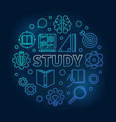Study round education blue in vector