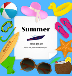 Summer travel template with beach accessories a vector