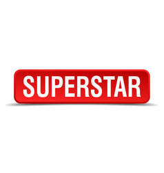Superstar red 3d square button isolated on white vector