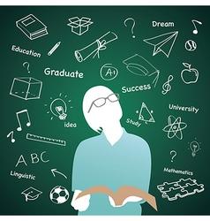 Teen standing in front of idea on the blackboard vector