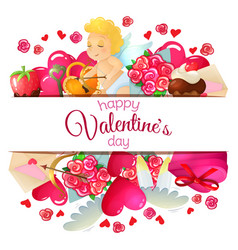 template with valentines day icons vector image