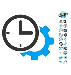 Time Setup Gear Icon With Copter Tools Bonus vector