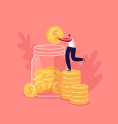 tiny girl collect golden coins into huge glass jar vector image