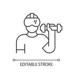 Virtual reality fitness linear icon vector