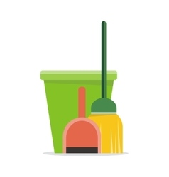 Web Banner Bucket Duster Broom and Dustpan Icon vector image