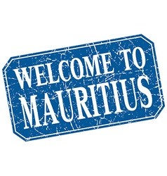 welcome to Mauritius blue square grunge stamp vector image