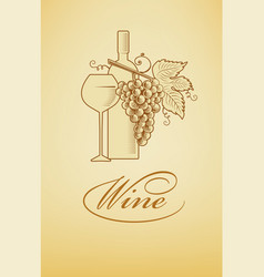 wine symbol bottle with glass and grapes vector image