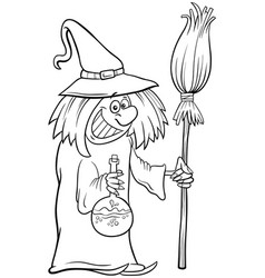 witch halloween character cartoon coloring book vector image