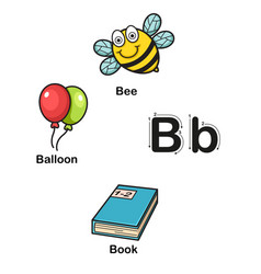 alphabet letter b-bee balloon book vector image