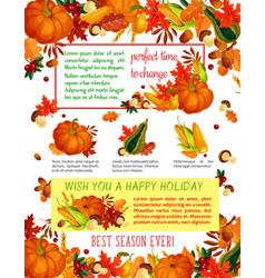 autumn harvest celebration thanksgiving poster vector image