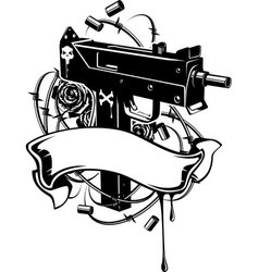 machine gun with barbed wire and ribbon vector image vector image